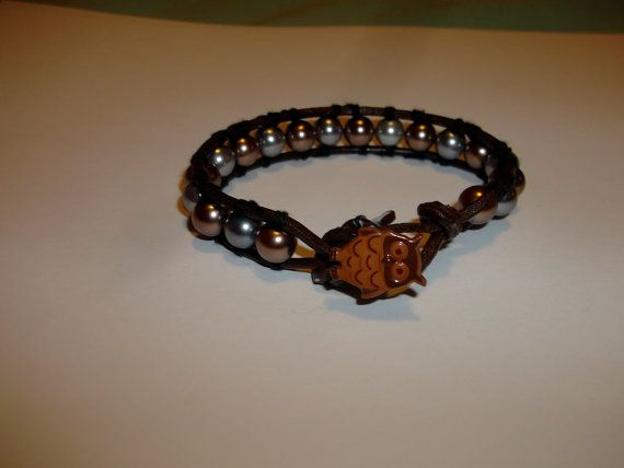 Silver and Gold Pearl Leather Wrap Bracelet With Owl by missy69