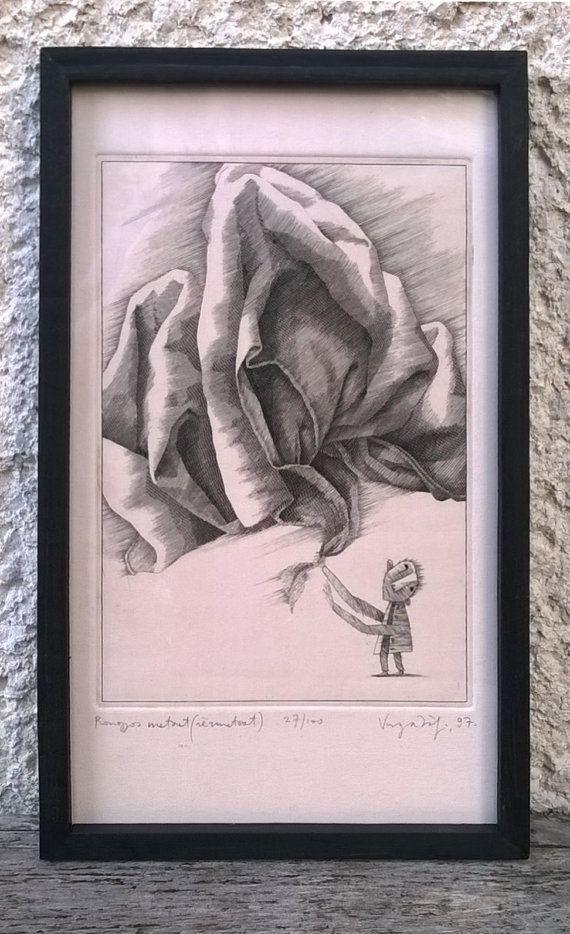 The drapery framed copper engraving original by ZsofiVarga on Etsy