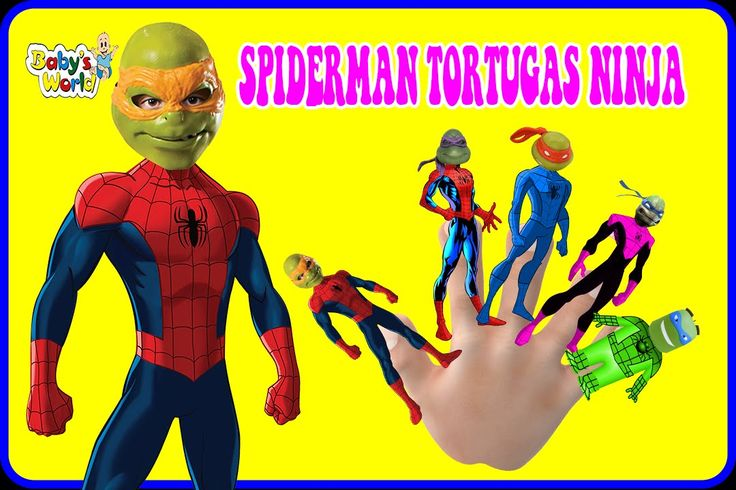 SPIDERMAN Tortugas Ninja Cartoons❁ Finger Family Nursery Rhymes (•̮̮̃•̃)...