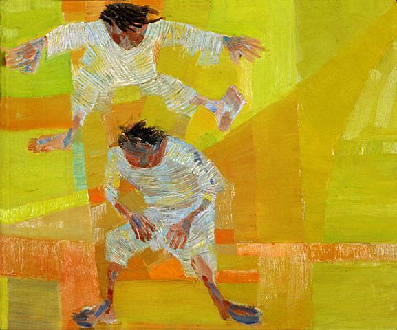 Jumping(1958) - Oil on Canvas - Candido Portinari.