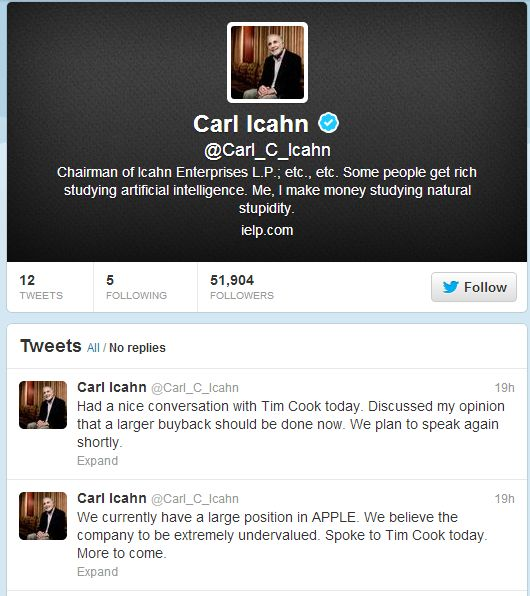 The Most Profitable Tweet in History? Carl Icahn's tweet added 5% to Apple's shares. Full story:
