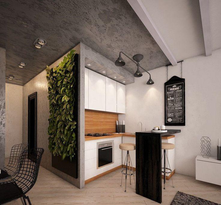 déco cuisine ouverte sur salon moderne, mur végétalisé, plafond en béton et tabourets design