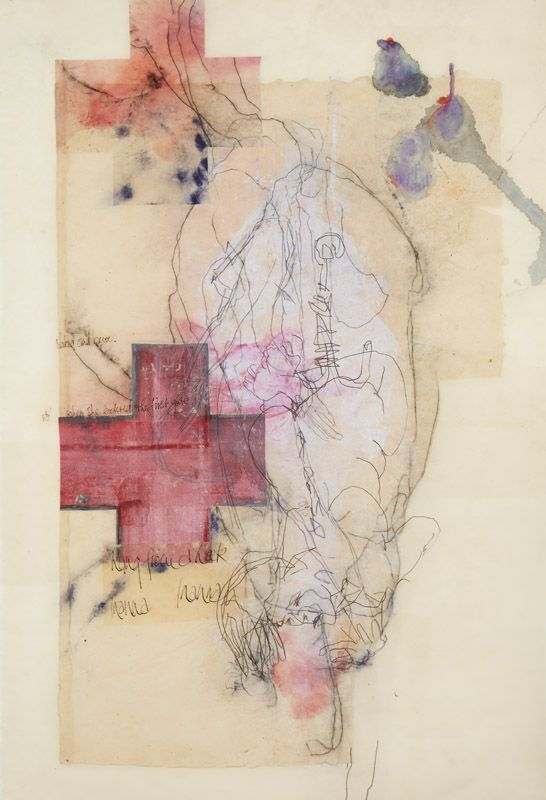 In The Great Below , 2014, etching, collage and encaustic on paper, 98x66cm