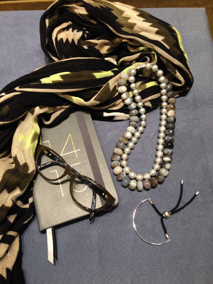 Jan Logan Botswana Agate and Pearl necklace with Jan Logan Tyler bracelet