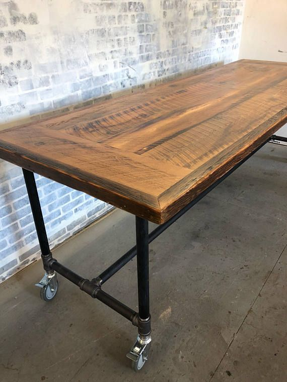 Description Reclaimed Wood Industrial Dining Table Rolling Caster Wheels Pictured Is 9 Foot X 3 F Wood Table Diy Reclaimed Wood Table Industrial Dining Table