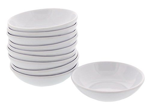 Melamine Plastic White Soy Sauce Dish - Pack of 10 - Pack of 10 pieces of a white melamine sauce dish for serving any dipping sauce. Each little dish is 2 2/3 inches in diameter. This sauce dish can also be used for spices, or for craft projects.