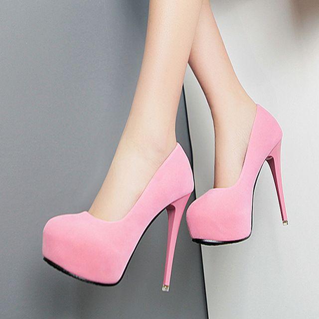 2016 mulheres bombas sapatos de plataforma de salto alto 12 cmWomen moda de alta qualidade Sexy de salto alto sapatos de festa de casamento rosa ALF170
