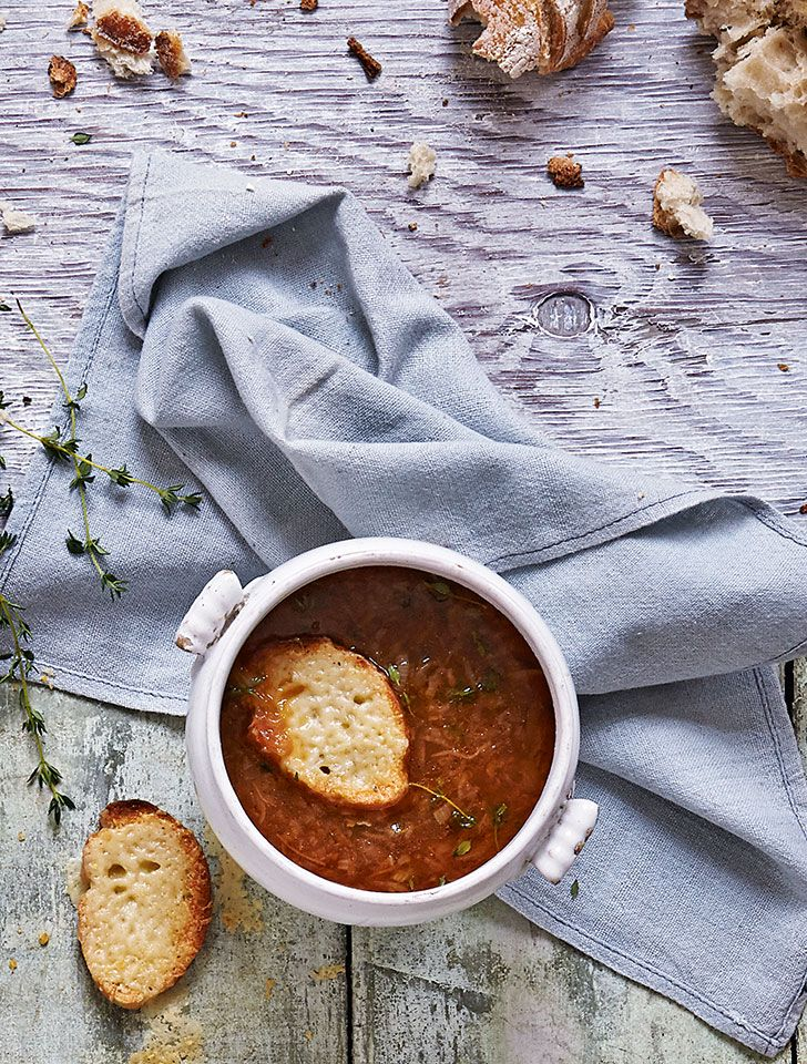 This classic French onion soup recipe is a comforting and hearty. Serve with gruyère cheese toasts.