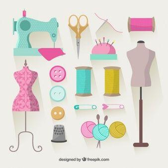 Elementos de costura coloridas