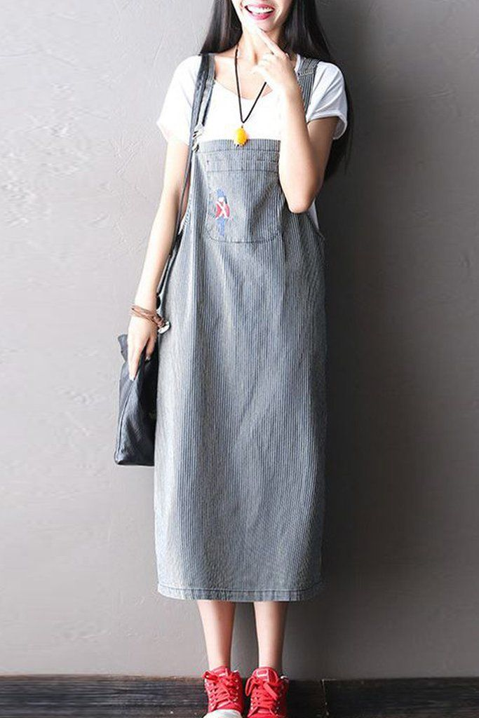 Stripe Jeans Condole Belt Long Dress Q0804