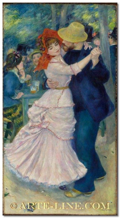 Pierre Auguste Renoir, Dance at Bougival, arte line, quadri, dipinti, riproduzioni e falsi d'autore
