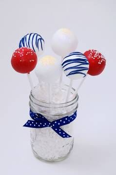 Red, white and blue cake pops in a mason jar! Adorable.