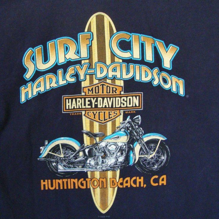 Surf City Harley Davidson T-shirt Medium M Huntington Beach Ca Surfboard Bike