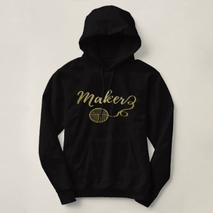 Maker  Yarn & Crafts Typography Faux Gold Hoodie - diy individual customized design unique ideas