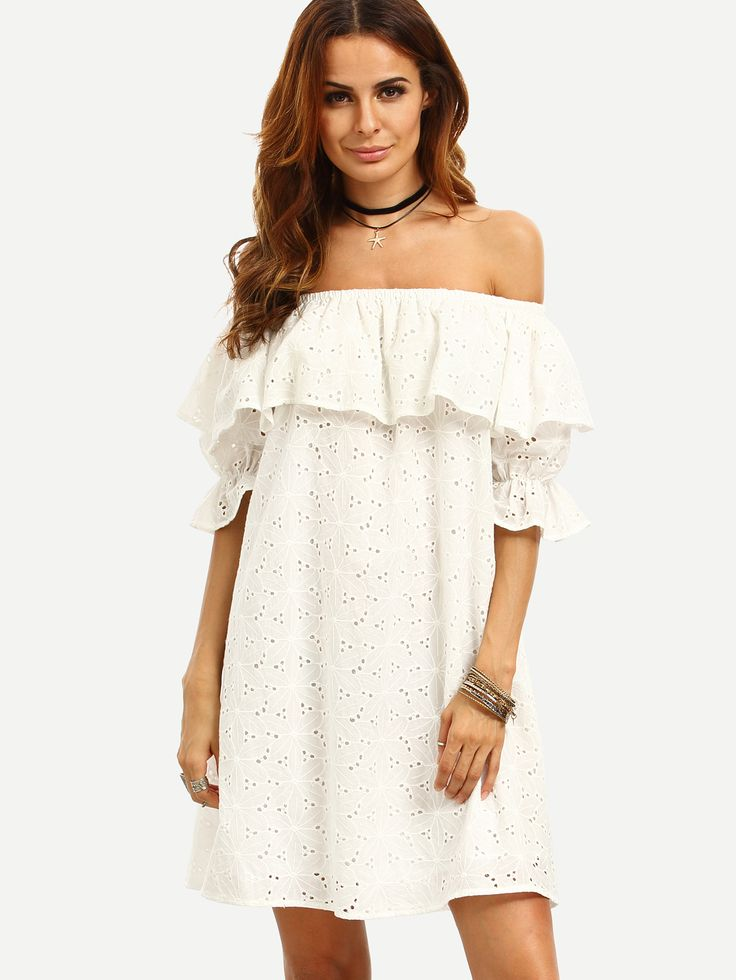 Online shopping for White Ruffle Off The Shoulder Shift Dress from a great  selection of women's fashion clothing & more at MakeMeChic.
