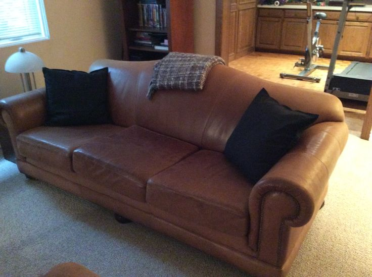 Matching leather couch, super comfy