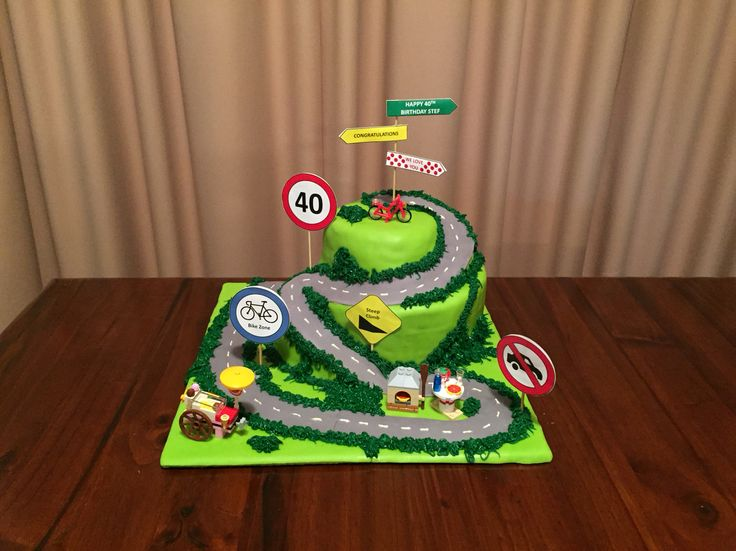 Tour de France themed cake with an Italian twist for my brother's 40th birthday. A butter cake flavoured with brandy layered with chocolate ganache. Yum :)