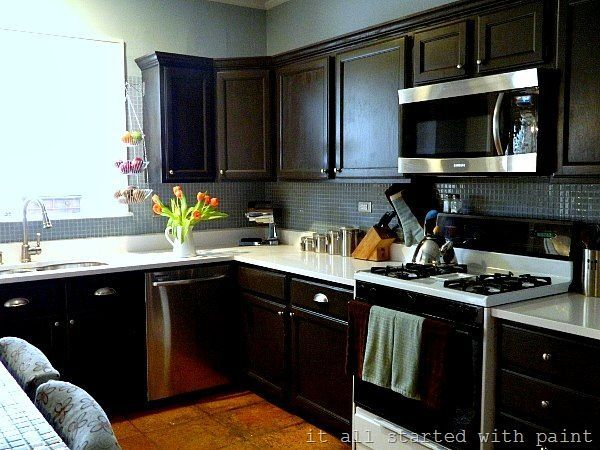 Amazing Black Kitchen Cabinets On Trend For 2018 Black Kitchen Cabinets Painted Modern Ideas D Oak Kitchen Cabinets Kitchen Remodel Black Kitchen Cabinets