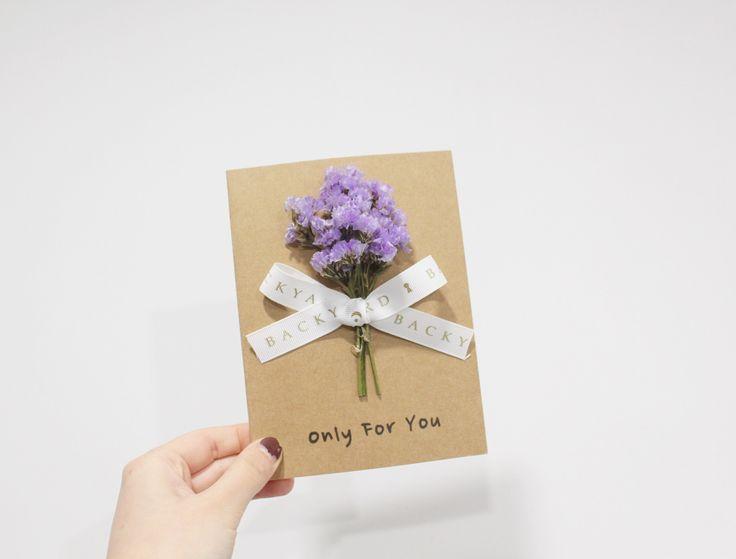 Greeting card handmade dried flower card with purple