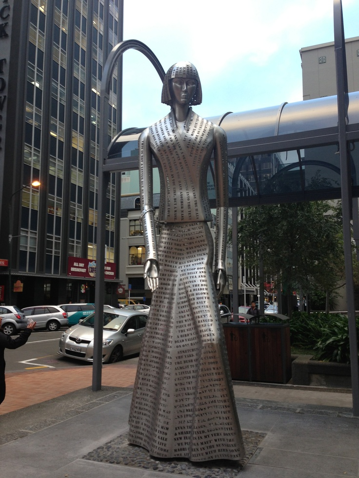 new Katherine Mansfield sculpture in Midland Park, Wellington, New Zealand