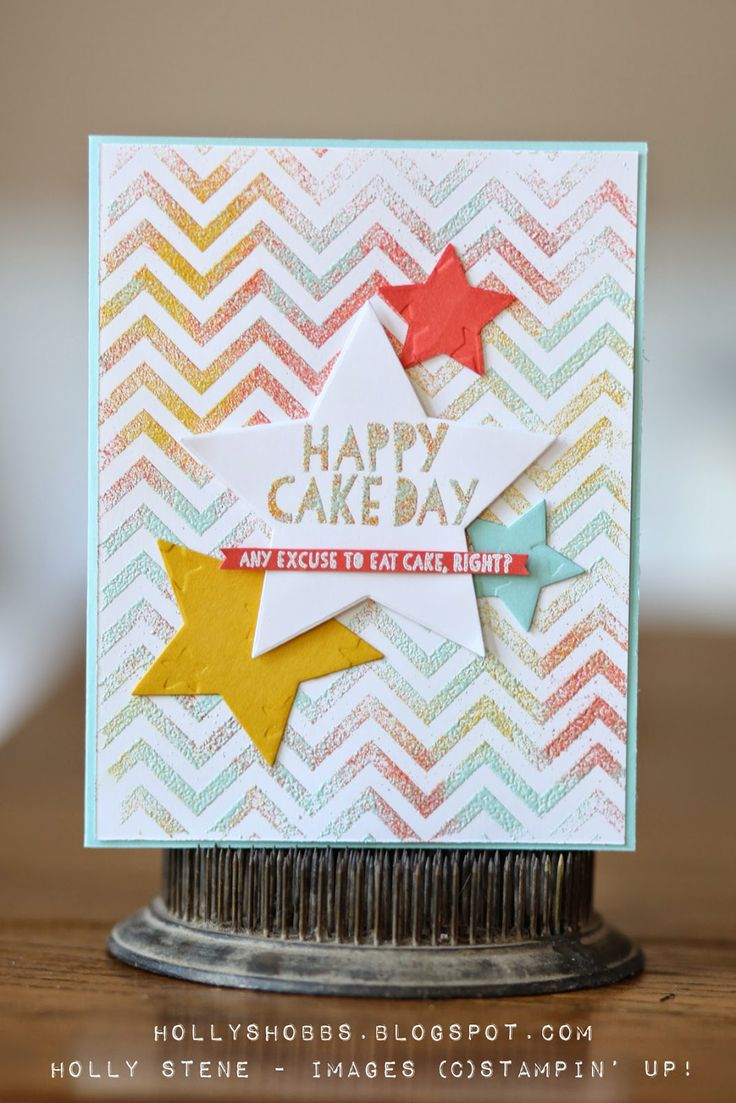 Loving this birthday card with a fun background made with several colors of embossing powder!