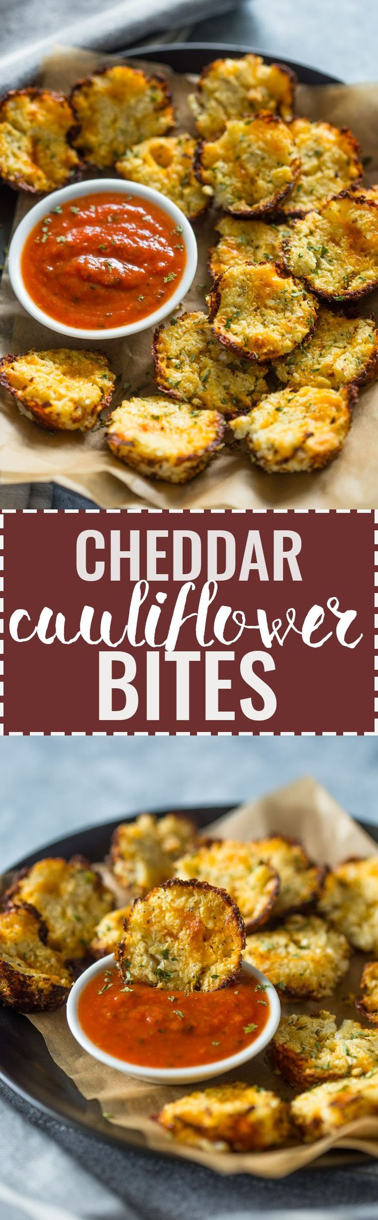3 Ingredient Baked Cheddar Cauliflower Bites | Gimme Delicious