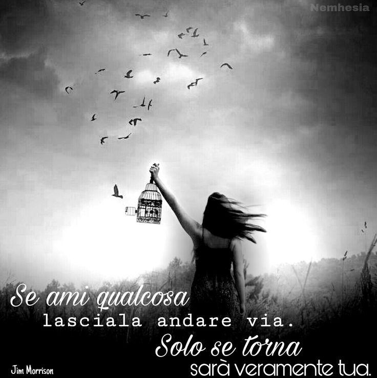 Se ami qualcosa lasciala andare via, solo se torna sarà veramente tua. (Jim Morrison) #aforismi #citazioni #frasicelebri #parole #pensieri #donna #femmina #poesia #amore #sentimenti #felicità #sogni #sognare #magia #surreale #immaginazione #realtà #libertà #gabbia #volare #uccelli