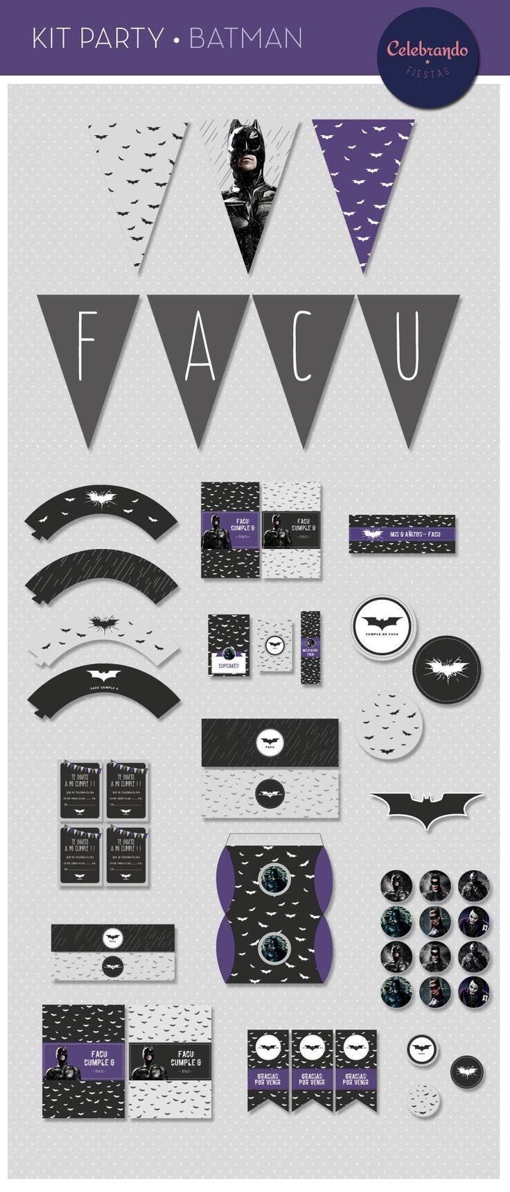 Kit imprimible de Batman. Celebrando Fiestas