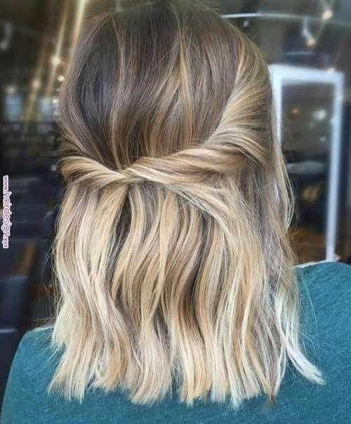 Twisted-Half-Up Easy Hairstyles for Short Wavy Hair with Best Ways #Easyhairstyles