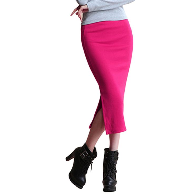 Hot New Sexy Women Chic Pencil Skirts Office Look knitting Mid-Calf Solid Skirt Casual Slim Hip ladies skirts Saias Feminino