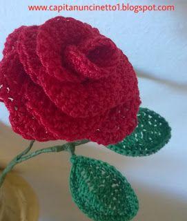 Capitan Uncinetto: Rosa rossa uncinetto