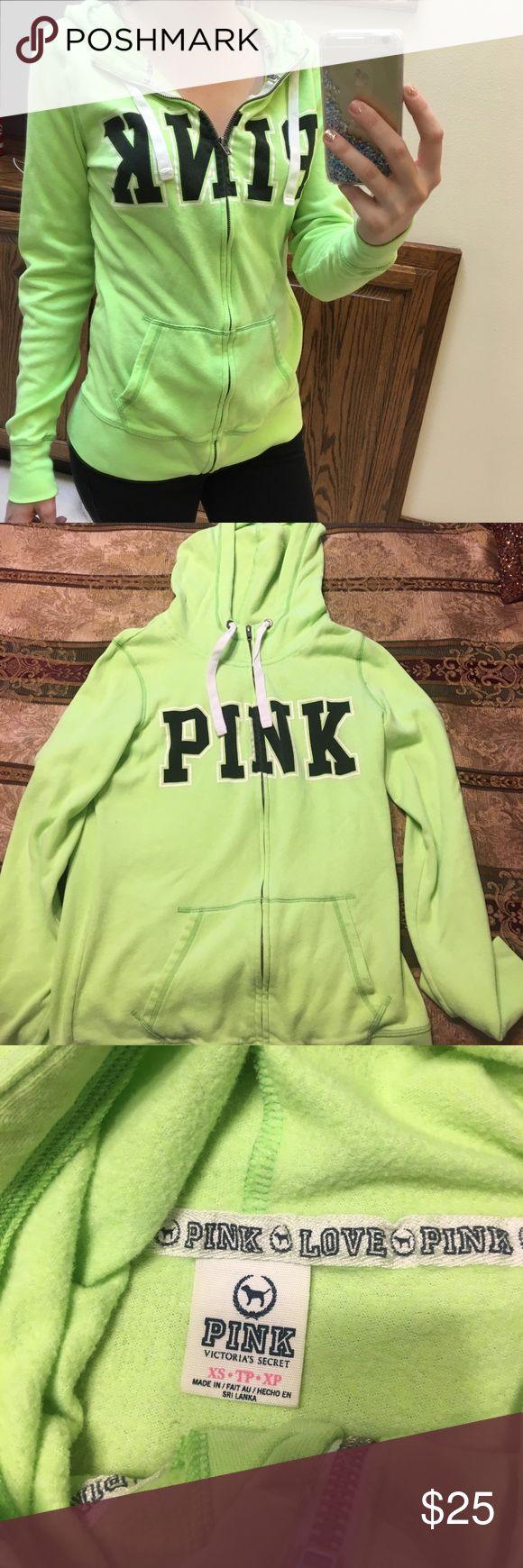 PINK Victoria's Secret lime green zip up hoodie Perfect condition! PINK Victoria's Secret Jackets & Coats