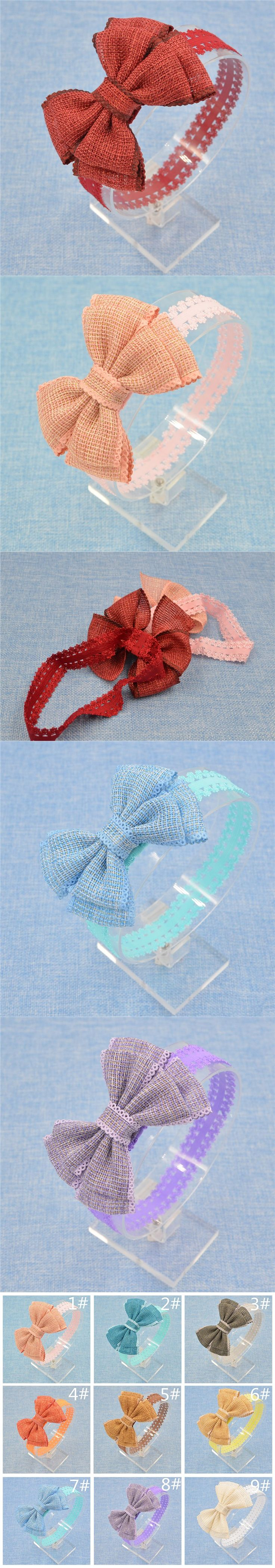 New infant Baby hair bows flower Headband lace band Hand made toddler Hair Band butterfly DIY hair accessories bowknot 10 color $1.5