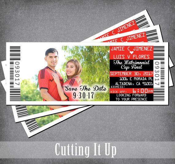 Soccer Save The Date Magnet, Sports Ticket, Save The Date, Wedding Announcement, Soccer Theme, Save The Date Ticket, Football, Spanish by CuttingItUp