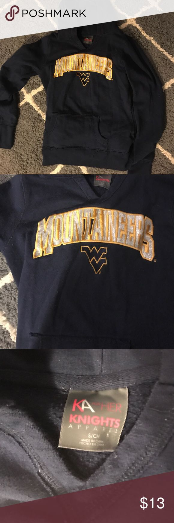 navy blue wvu mountaineers hoodie nwot sparkles. size small can also fit xs Tops Sweatshirts & Hoodies