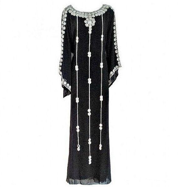 Black Caftan Farasha Beaded Crystal Kaftan Dress Jelabiya by Jywal