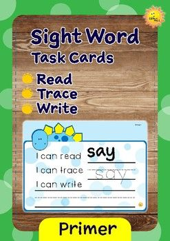 Use these cute dino theme task cards for teaching sight words. These task cards are great for a center activity. Laminate the cards, and use the erasable marker to trace and write the word. Wipe it, and use again.This set contains:~ 52 sight word cards, based on Dolch word list. * he* was* that* she* on* they* but* at* with* all* there* out* be* have* am* do* did* what* so* get* like* this* will* yes* went* are* now* no* came* ride* into* good* want* too* pretty* four* saw* well* ran…