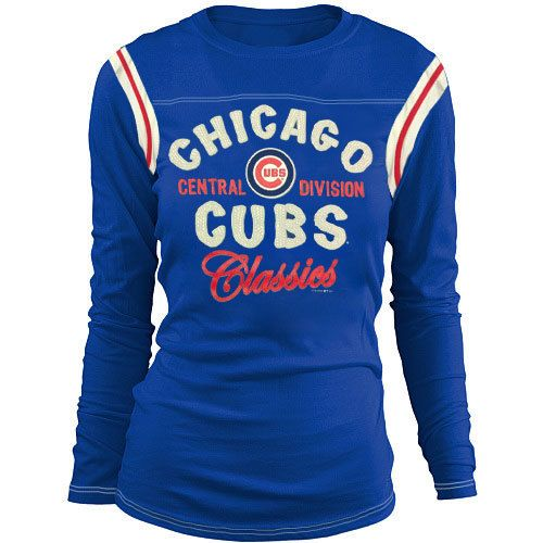 Chicago Cubs Women's Vintage Contrast Long Sleeve Tee by 5th & Ocean