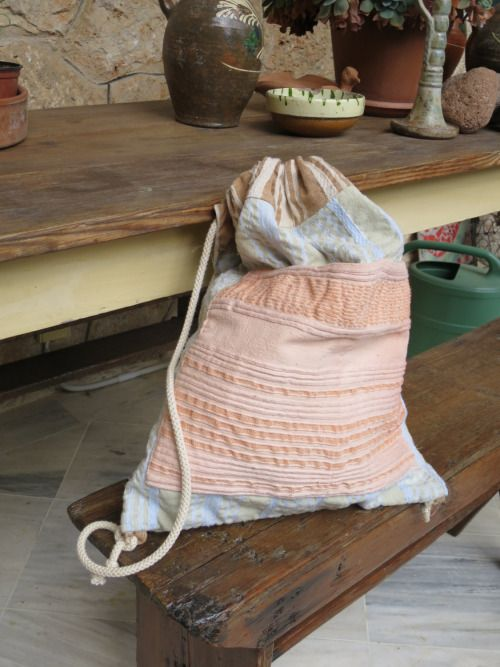 Greek hand woven cotton and wool textile bag, natural dye, light backpack design