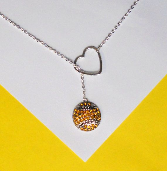 "Softball Necklace with Rhinestones and Heart and number, handmade jewelry. Add varsity # and add 4"" in length."