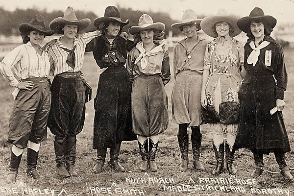 "Here is a picture of some outstanding cowgirls including Ruth Roach , World Champion Trick Rider, members of Buffalo Bill's show, Mable Strickland who was elected Queen of the Rodeo in Walla Walla and Rose Smith, a Wyoming cowgirl and bronc rider.  This was indeed a rough and rugged occupation which was considered ""men's work."""