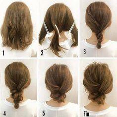 Simple Messy Updo For Medium Hair Tutorial                                                                                                                                                                                 More