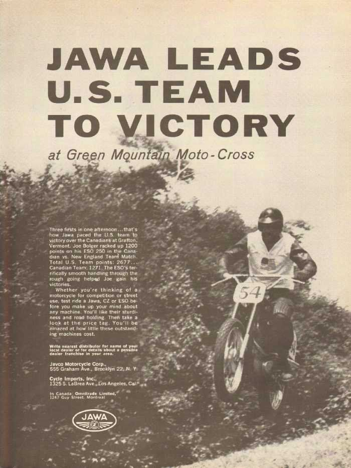 3 firsts in one afternoon...that's how Jawa paced the US team to victory over the Canadians at Grafton, Vermont. Joe Bolger racked up 1200 points on his ESO 250....   Original, vintage magazine advertisement.   Size: Approx. 8 1/4 x 10 3/4 (21 cm x 27 cm).  Condition: Good    nbp06