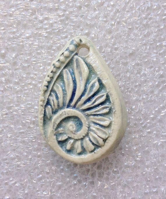 Paisley Filigree Ceramic Pendant by SlinginMud on Etsy, $10.00