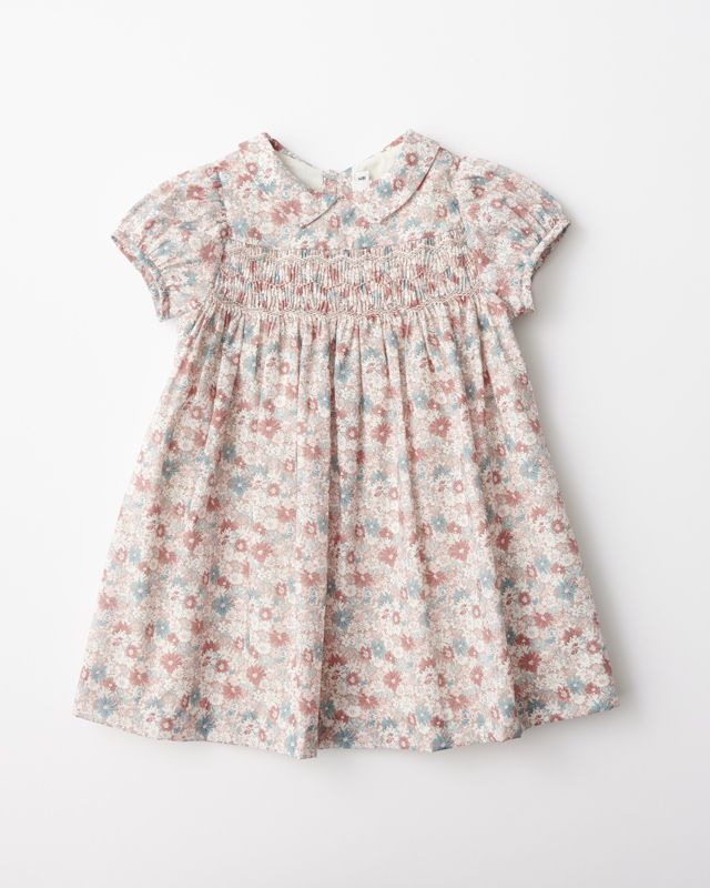 bonpoint 2020aw ベビー リバティプリント刺繍ワンピース 女の子のドレス ワンピース ファッションアイデア