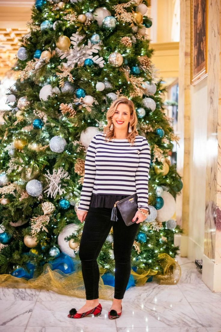 A Very Talbots Holiday Plaid Heels Velvet Pants