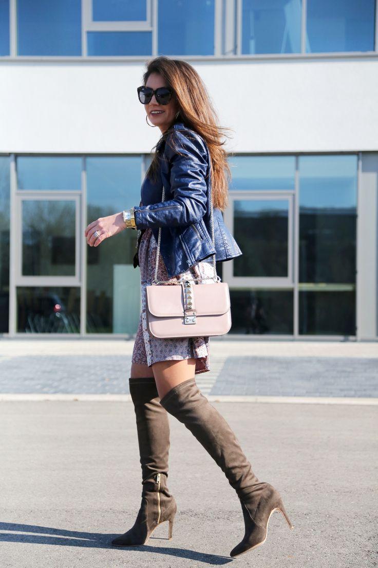 outfit-dress-leather-jacket-esprit
