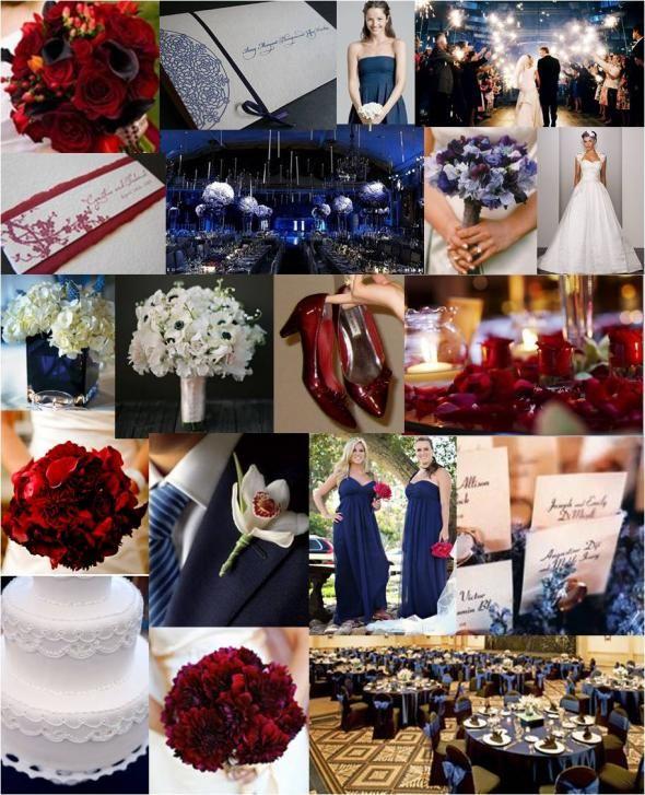 Navy-Cranberry Inspiration Board! :  wedding navy red inspiration board InspirationBoard Blog