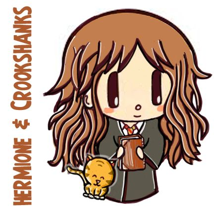 How to Draw Cute Chibi Hermione Granger and Crookshanks with Easy Steps