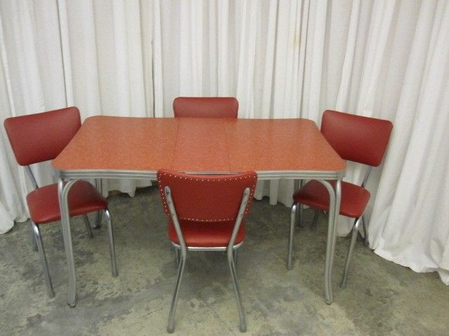 retro 1950s vintage dining room set chrome red 4 chairs table w leaf